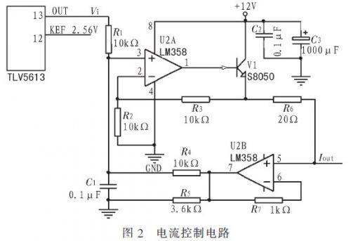 1电流控制电路 电流控制电路采用数模转换器芯片tlv5613加上v/i转换