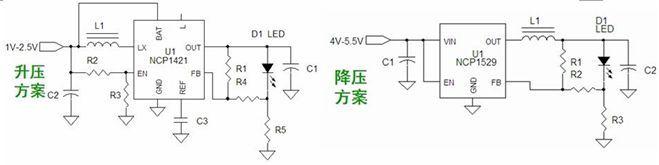 手电筒降压led应用可以采用ncp1529低压降压转换器,应用电路图如图3所