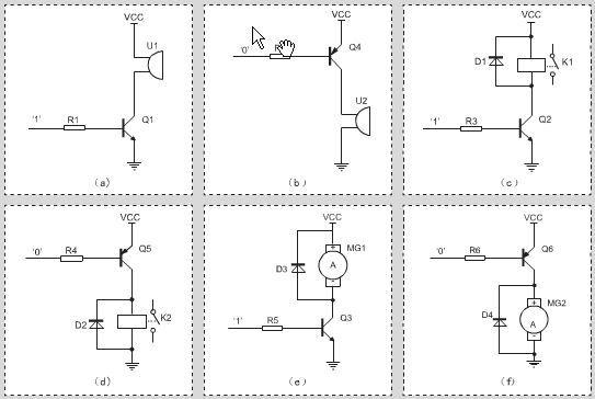 图1 NPN 型、PNP 型晶体管驱动各种负载的典型电路    2、驱动电路及元件选择    使用晶体管驱动负载主要利用晶体管的开关特性,也就是通过控制晶体管在饱和区和截止区之间切换来控制负载的接通和关闭。那么有的电子爱好者会问:什么时候选择NPN 型晶体管驱动电路?什么时候选择PNP 型晶体管驱动负载?对于相同类型的晶体管,该如何选择晶体管的具体型号?基极电阻应该如何选取?下面对这些问题作一下简要说明。 2.
