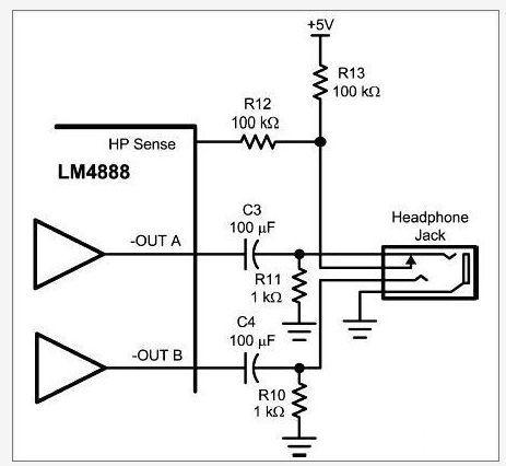 在此立体声声频子系统的耳机检测控制接脚中加入一个