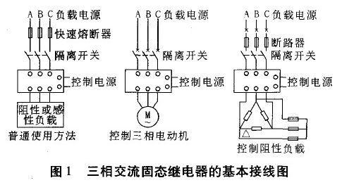 图1为三相交流固态继电器的基本接线图
